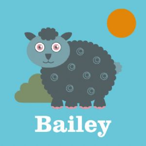 Wallspice Personalised Art :: Kids Name With Woolly the Sheep Illustration